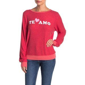 WILDFOX Te Amo Red Knit Pullover
